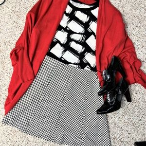 The Loft  Black and White A-Line Skirt size L